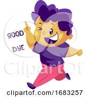 Boy With Purple Hair Saying Goodbye Sticker Illustration