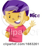 Poster, Art Print Of Yellow Boy With Purple Hair Waving And Saying Nice