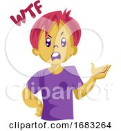 Angry Boy With Pink Hair Saying WTF