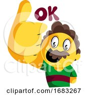 Yellow Man With Mustashes Showing Thumbs Up And Saying Ok
