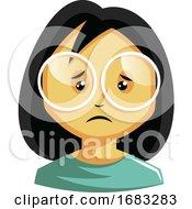 Poster, Art Print Of Girl Wearing White Glasses Is Feeling Emotional Illustration