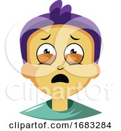 Poster, Art Print Of Guy With Purple Hair Is Feeling Emotional Illustration