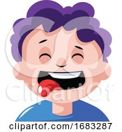 Boy With Curly Purple Hair Is Craving Some Food Illustration