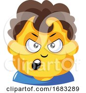 Student With Curly Brown Hair Is Cranky Illustration