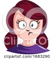 Girl With Red Hair Tied In Pigtails Is Confused Illustration