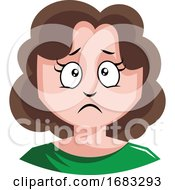 Girl With Brown Curly Hair Is About To Cry Illustration