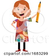 Poster, Art Print Of Woman In Dress Holding A Big Pencil Illustration