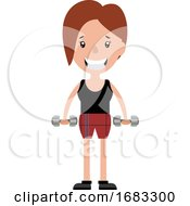 Young Woman Working Out With A Set Of Weights Illustration