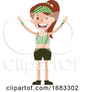 Poster, Art Print Of Open Armed Cheerful Young Teen Girl Illustration