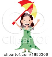 Young Woman Holding An Umbrella Illustration