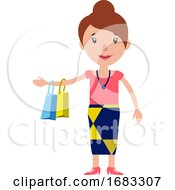 A Smiling Woman Returning From Shopping Illustration