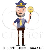 Poster, Art Print Of Cartoon Policeman Holding Stop Sing Illustration