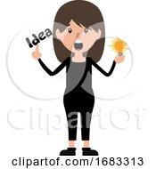 Cartoon Woman With An Idea Illustration