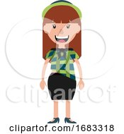 Smiling Young Woman With A Green Hat Illustration