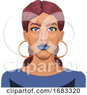 Beautiful Girl With Blue Lipstick Illustration