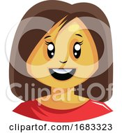 Woman With Short Brown Hair Is Happy Illustration