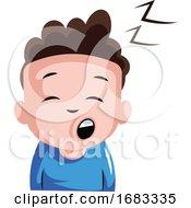 Sleepy Boy In Blue Top Illustration
