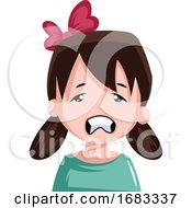 Stressed Little Girl With Pigtails And Bow In Her Hair Illustration