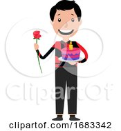 Cartoon Man Holding A Cake And Giving The Rose Illustration