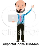 Cartoon Freelancer Holding His Notebook And Waving Illustration