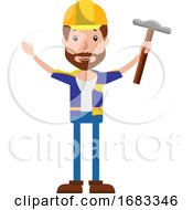 Poster, Art Print Of Cartoon Construction Worker Holding A Hammer Illustration