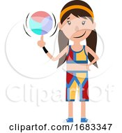 Poster, Art Print Of Cartoon Girl Spinning A Ball On Her Finger Illustration