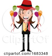 Poster, Art Print Of The Little Cute Guy Holding A Bunch Of Balloons Illustration