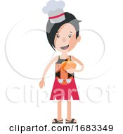 Cartoon Woman With Chef Hat Illustration