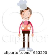 Cartoon Chef With Mustaches Illustration