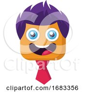 Poster, Art Print Of Square Smilling Face With Purple Hair And Pink Tie Vector Illustration