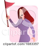 Poster, Art Print Of Cute Cartoon Girl In Purple Holding A Flag