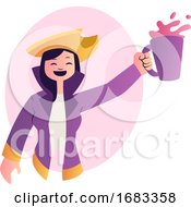 Cartoon Woman In Purple Suit Celebrating