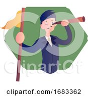 Cartoon Boy With Telescope