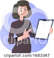 Cartoon Woman With Documents