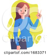 Cute Cartoon Woman In Blue Dress