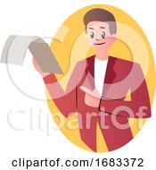 Cartoon Man Holding Documents
