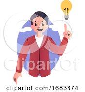 Cartoon Guy Having Good Idea