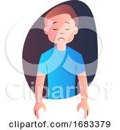 Sad Cartoon Boy In Blue Shirt