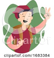 Poster, Art Print Of Cute Cartoon School Boy