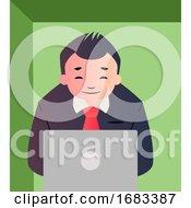Cartoon Businessman Working On Laptop