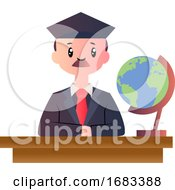 Poster, Art Print Of Cartoon Male Student