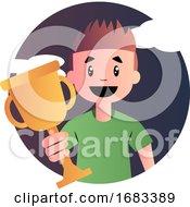 Cartoon Boy Holding Goblet