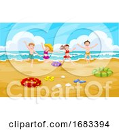 Children At The Beach Illustration