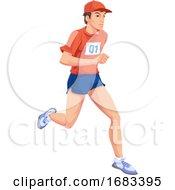 Man Running Color Illustration