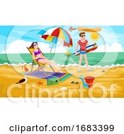 Poster, Art Print Of Couple At The Beach Illustration