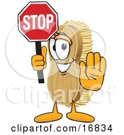 Scrub Brush Mascot Cartoon Character Holding A Stop Sign