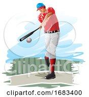 Poster, Art Print Of Baseball Player Illustration