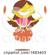 Poster, Art Print Of Young Yellow Cheerleader Cheering And Jumping