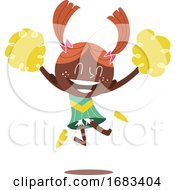 Poster, Art Print Of Illustration Of A Young Smiling Cheerleader Jumping And Cheering