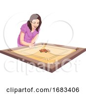 Poster, Art Print Of Woman Playing Carom Game